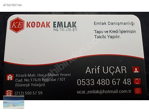 KODAK EMLAK TAN SATILIK SIFIR 2+1 KREDİLİ YÜKSEK...