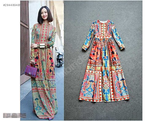 Milano Fashion Vintage Style Retro Long Romantic Dress Elbise Modelleri