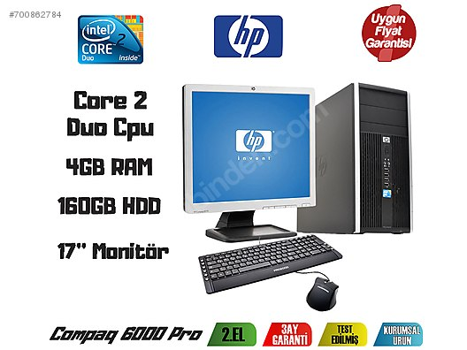 d2547ad443329 HP Compaq 6000Pro Core2 Duo 3.0GHz 4GB Ram 160GB Hdd 17''Monitör #